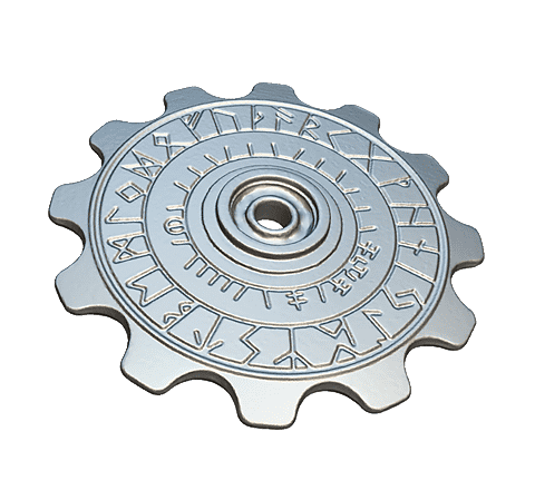 Cog fidget spinner with carvings 3D model
