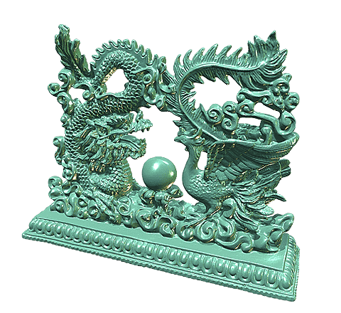 Dragon and phoenix statuette 3D model